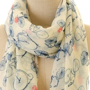 Gorgeous bicycle print long viscose scarf